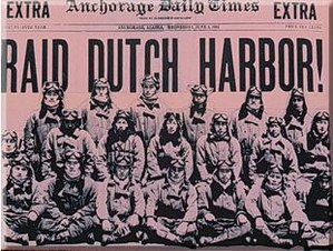 Battle of Dutch Harbor - Front page of the June 3rd, 1942 Anchorage Daily Times featuring the attack.