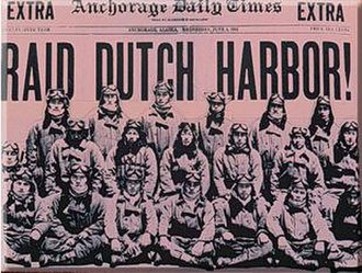 Battle of Dutch Harbor - Front page of the June 3, 1942 Anchorage Daily Times featuring the attack