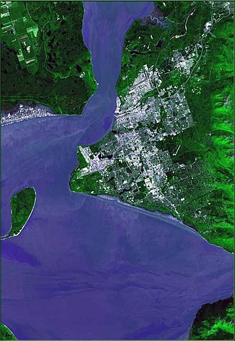"Anchorage, Alaska - Satellite view of the ""Anchorage bowl"", also including Fire Island, Joint Base Elmendorf-Richardson and Eagle River."