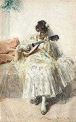 Girl playing mandolin