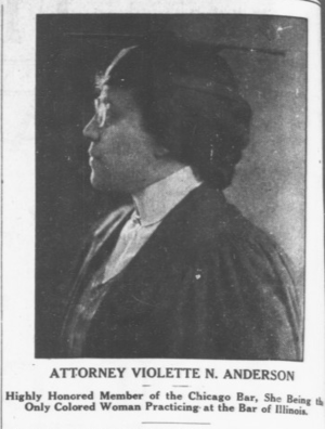 Violette Neatley Anderson - Violette Anderson, in The Broad Ax newspaper (July 29, 1922)