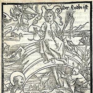 Antichrist - Woodcut showing the Antichrist, 1498
