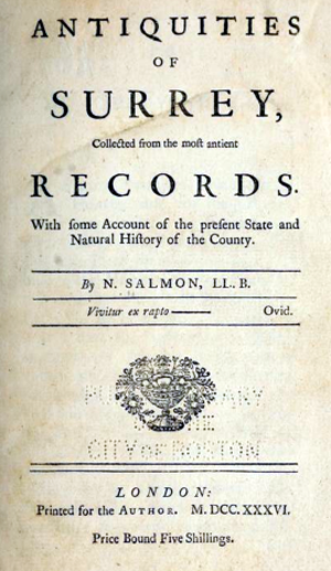 Nathanael Salmon - Title page of Antiquities of Surrey, 1736.