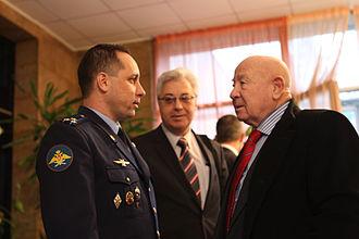 Alexei Leonov - Alexei Leonov (right) shares a moment with Anton Shkaplerov (left) in October 2011.