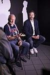 Apollo 11 astronaut Buzz Aldrin and Kudo Tsunoda of Microsoft, speak to members of the news media (29502234940).jpg