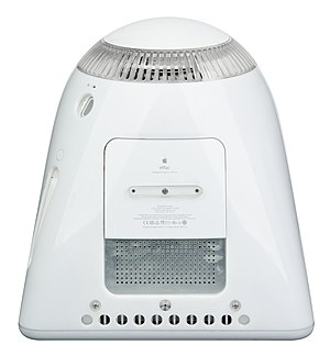 EMac - RAM was upgradeable through a service port on the bottom of the unit. Also, notice the aluminum, it made the eMac the first Apple computer to ship with aluminum on the outside.