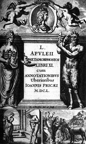 The Golden Ass - Title page from John Price's Latin edition of Apuleius' novel Metamorphoses, or the Golden Ass (Gouda, Netherlands, 1650)