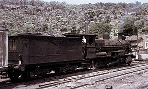 New South Wales D55 class locomotive - 5610 stands at Hawkesbury River with a construction train for the electrification project