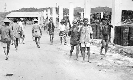 Dayak men armed with Japanese rifles in Brunei during June 1945 before returning to their villages in the interior Armed Dayak men in Brunei during June 1945.jpg