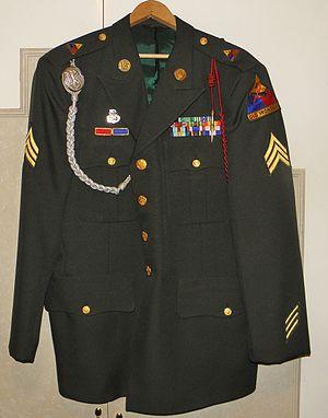 Fourragère - US Army blouse with Belgian fourragère