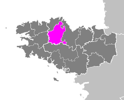 Location of Guingamp in Brittany