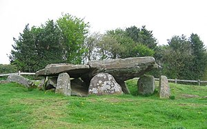 Arthur's Stone. Sandstone Dolmen above the Gol...