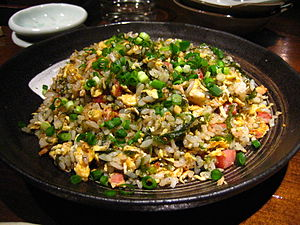 Chahan (dish) - A chahan fried rice dish prepared with many ingredients, at a restaurant in Naha, Okinawa, Japan