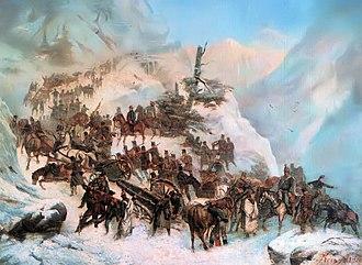 Artúr Görgei - The troops of Görgei crossing the Sturec pass