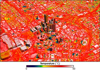 Urban heat island - Image of Atlanta, Georgia, showing temperature distribution, with blue showing cool temperatures, red warm, and hot areas appear white.