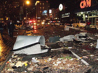 2008 Atlanta tornado outbreak - Tornado damage on Marietta Street in front of CNN Center / Omni Hotel