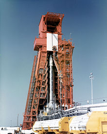 Atlas rocket with Project Fire 1 at Gantry pull back.jpg