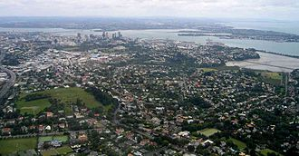 History of Auckland - Aerial view of the city, looking north to the CBD.