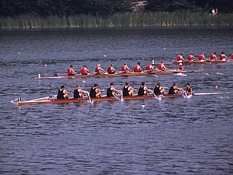 1972 New Zealand eight - Semi-final at the 1971 European Rowing Championships; New Zealand is ahead of the Soviet Union and Czechoslovakia