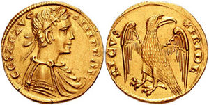 Augustalis - Example of a Messinese augustale, showing Frederick as a Roman Emperor