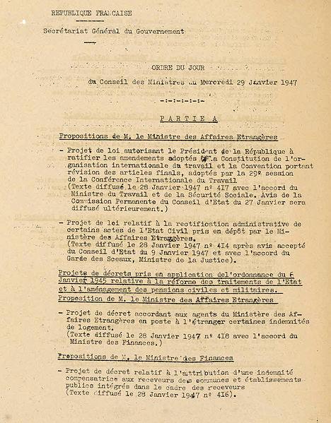 File:Avant–projet, ordre du jour et proposition de règlement du gouvernement du conseil des ministres - Archives Nationales - F-60-2566 - (1).jpg