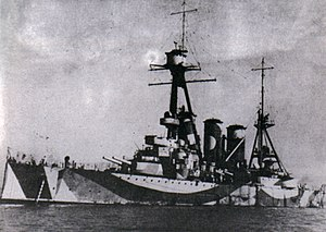 Greek cruiser Georgios Averof - Georgios Averof in dazzle camouflage during World War II