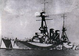 Greek cruiser Georgios Averof - Georgios Averof in dazzle camouflage during World War II
