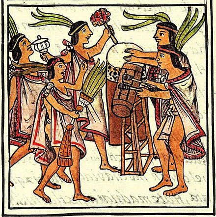 """One Flower"" ceremony celebrated with two drums, which are called the teponaztli (foreground) and the huehuetl (background). Florentine Codex Aztec drums, Florentine Codex..jpg"