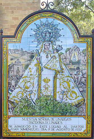 Linares, Jaén - Glazed ceramic tile tableau celebrating the apparition in 1227 of the Virgin Mary in Linares.