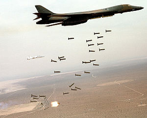 Bombs away! FILE PHOTO -- A B-1B Lancer unleas...