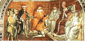 Pope Alexander III - Frederick Barbarossa submits to the authority of Pope Alexander III (fresco in the Palazzo Pubblico in Siena, by Spinello Aretino).