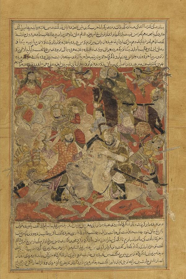 Balami - Tarikhnama - The Battle of Badr - The angelic host is sent to assist the Muslims