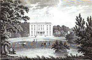 "Destruction of Irish country houses (1919–1923) - Ballynastragh House depicted in 1826, typical of the ""Big Houses"" targeted by the IRA."