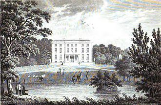 """Destruction of Irish country houses (1919–1923) - Ballynastragh House depicted in 1826, typical of the """"Big Houses"""" targeted by the IRA."""