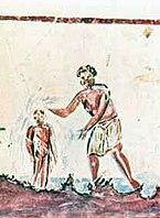 Um batismo na arte cristã do século III.