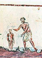 Affresco raffigurante il battesimo, III secolo.