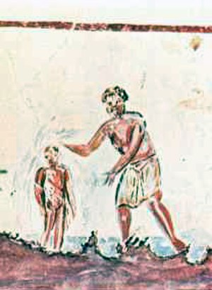 Baptism - Catacombs of San Callisto: baptism in a 3rd-century painting
