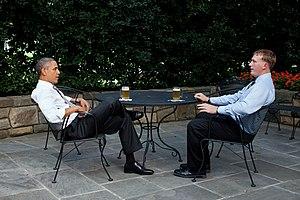 President Barack Obama enjoys a beer with Dako...