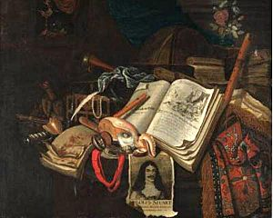 "Barend van Eijsen - Vanitas still life after Vincent van der Vinne, attributed to Pieter van Eijsen. It has a portrait of King Charles II and book of prints ""Afbeeldinghe van de Spaensche Tirannye"", globe, trumpet, recorder, music book, nautilus shell, watch with red ribbon, books, and vase with roses"