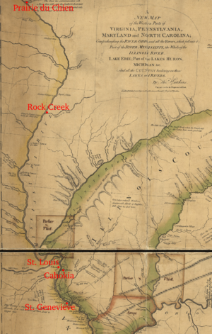 Battle of St. Louis - Detail of a 1778 map depicting the middle reaches of the Mississippi River, annotated to show locations of interest for this battle
