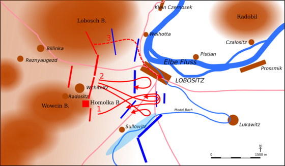 Battle of Lobositz. Austria: blue; Prussia: red. Battle of Lobositz.png