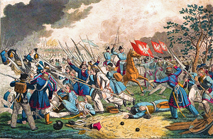 Battle of Ostrołęka (1831) - The battle on a 19th-century gravure by Georg Benedikt Wunder