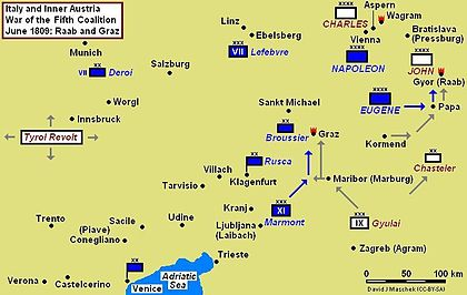 Battles of Raab (14 June) and Graz (24–26 June) campaign map