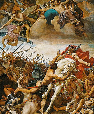 Battle of Tolbiac - Battle of Tolbiac. Fresco at the Panthéon (Paris) by Joseph Blanc, c. 1881.