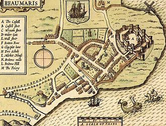 Beaumaris Castle - A map by John Speed showing the castle and the adjacent walled town in 1610