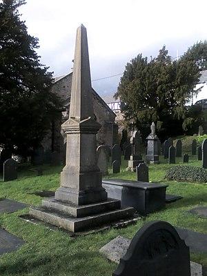 I. D. Ffraid - Memorial to I D Ffraid in San Ffraid's churchyard Llansanffraid Glan Conwy