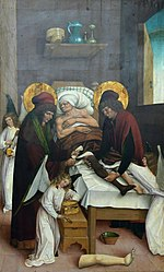 Q88164578: Legendary transplantation of a leg by Saints Cosmas and Damian, assisted by angels