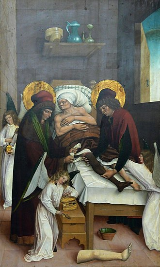 Saints Cosmas and Damian - Cosmas and Damian miraculously transplant the black leg of the Ethiopian onto the white body of the patient.