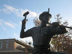 Cornish diaspora - A statue commemorating Cornish and German miners in Bendigo, Victoria, Australia