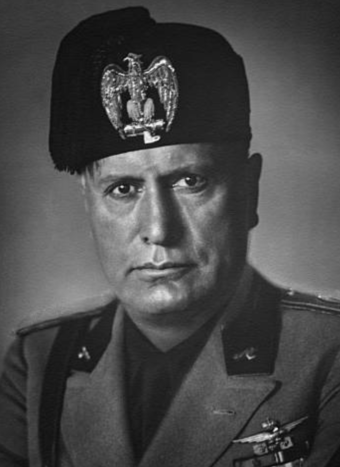 Benito Mussolini, duce of Fascist Italy Benito Mussolini 1930 (cropped).png